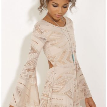 Playsuits/Jumpsuits > Bell Sleeve Playsuit In Nude