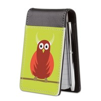 Red Cartoon Horned Owl Small Leather Notepad