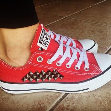 Custom Studded Red Converse All Star Chuck Taylors - ALL COLORS & SIZES! Custom Red Ch