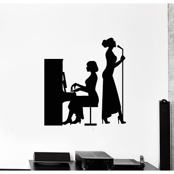 Vinyl Wall Decal Music Concert Scene Piano Singer Silhouette Girls Stickers Mural (g2946)