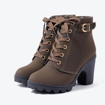 High Heels Buckle-thick Short Boot