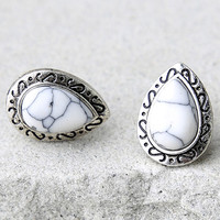 Confident and Courageous Silver and White Earrings