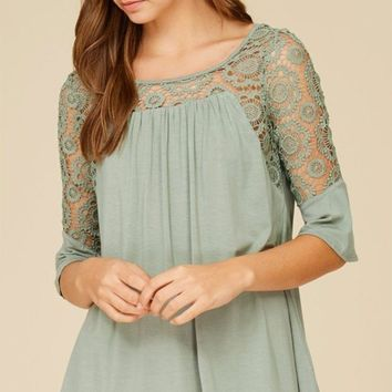 Picture This Sage Green Flounce Long Sleeve Lace Top
