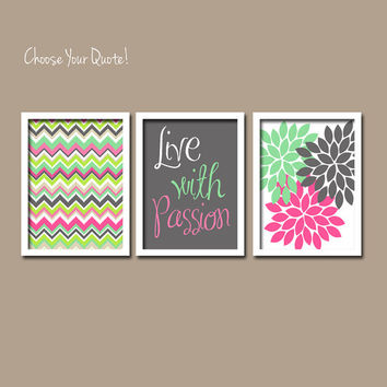 Pink Charcoal Seafoam Live with Passion iKat Inspired Flower Burst Set of 3 Prints Chevron Quote WALL ART Bedroom Baby Choose Your Quote