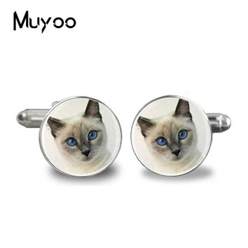 2017 Fashion handmade Cufflinks Cute  Cufflink Round Glass Animal Charms Retro Occult High Quality Cufflinks Jewelry Men
