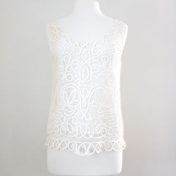 Vintage Ivory Lace Top - Crochet Lace Tank Top - Size Medium to Large
