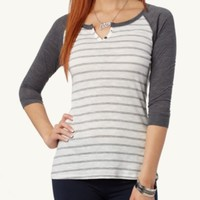 Slim Striped Raglan Top