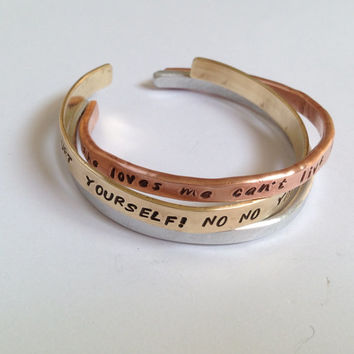 Mixed Metals Personalized Aluminum Copper Brass Hand Stamped Bangle Cuff Bracelet Set of THREE