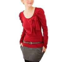 Amazon.com: Allegra K Woman Puff Sleeve Scoop Neck Bowknot Adorn Shirt Solid Red M: Clothing