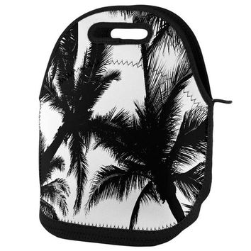 DCCKU3R Black And White Palm Tree Silhouette Lunch Tote Bag