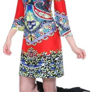 Madelyn Print Dress in Red Blue Short Shift V Neck 3/4 Sleeves
