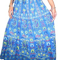 Indian Long Skirt Blue Printed Cotton Maxi Skirts Womens Summer India Clothing