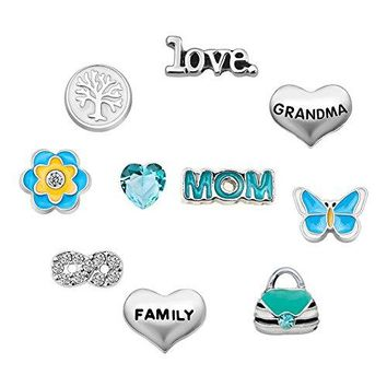 Mothers Day Mom Butterfly 10 Pcs Floating Charms For Synthetic glass Living Memory Lockets Necklace amp Bracelets