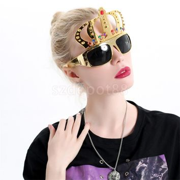 Gold Crown Shaped Funny Party Sunglasses