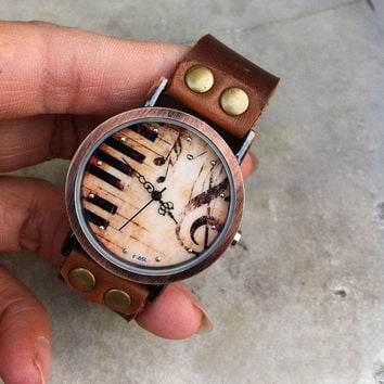Vintage Piano Print Watch