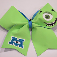 "3"" Monsters Inc- Mike Wazowski Cheer Bow with Glow in the dark features"