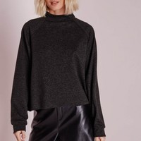 Missguided - High Neck Raglan Sweater Charcoal
