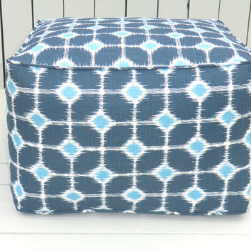 Blue square pouf , square ikat ottoman 20x20x14, blue ikat pouf, blue bean bag chair, ikat floor cushion, blue ikat ottoman