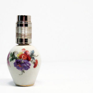 Vintage Perfume Bottle Limoges Paris France Step Porcelain Floral Decorated Perfume Atomizer