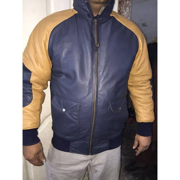 Mens Leather Jacket Navy & Tan Custom Made Nappa Sheepskin Raglan Sleeves as customers picture