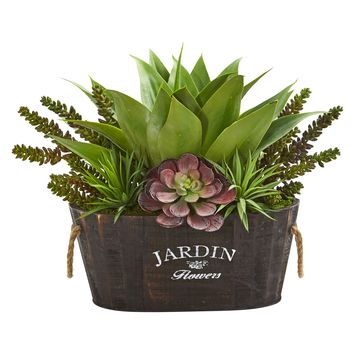 Succulent Garden in Wood Planter