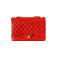 CHANEL bag MAXI flap 2013 cruise vivid red lambskin leather NEW/box