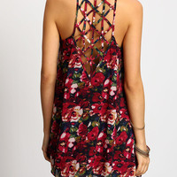 Multicolor Spaghetti Strap Hollow Floral Dress