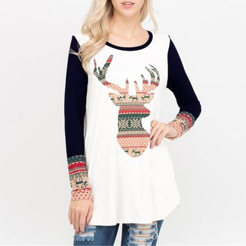 2018 New Christmas Elk Deer Print Patchwork T-shirt Women Casual O-neck Long Sleeve Tee Female Top Blusa Mujer HD1297
