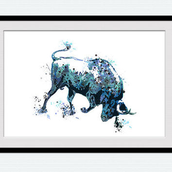 Bull watercolor poster Taurus colorful print Animal watercolor decor Home decoration Living room decor Wall hanging Christmas gift W441