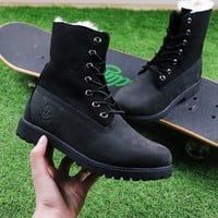 Best Online Sale Timberland Authentics Waterproof Fold Down Shearling Black Mid Boots Outdoor Sneaker