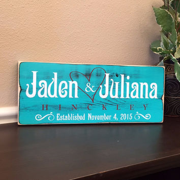 Rustic Wedding Established Sign, Last Name Sign, in Aqua Green Distressed Finish
