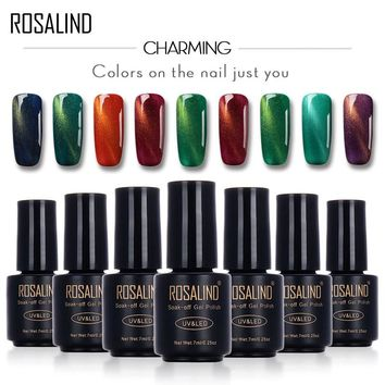 ROSALIND Black Bottle 7ML Cat-Eyes 3DMagnet C01-30 Gel Nail Polish Nail Art Nail Gel Polish UV&LED Long-lasting with Glitter