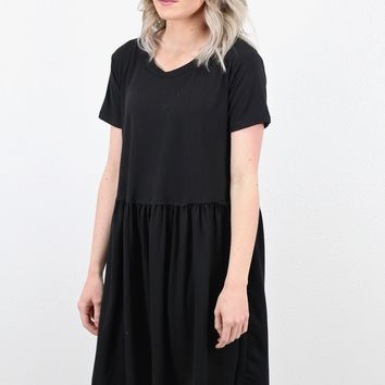 Basic Suedette Smocked Babydoll Dress {Black}