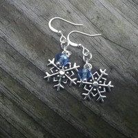 Snowflake earrings, winter earrings, Blue earrings, holiday earrings, Fashion dangle earrings, gift for her, stocking stuffer