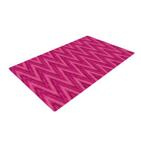 "Amanda Lane ""Berry Pink Chevron"" Magenta Purple Woven Area Rug"