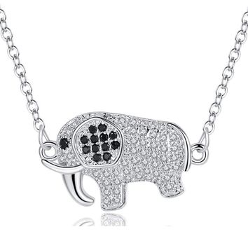 Cute Elephant Pendant Necklace Women's Clavicle Chain Fashion Full zircon Elephant Necklace