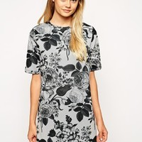 ASOS T-Shirt Dress in Texture with Monofloral Print