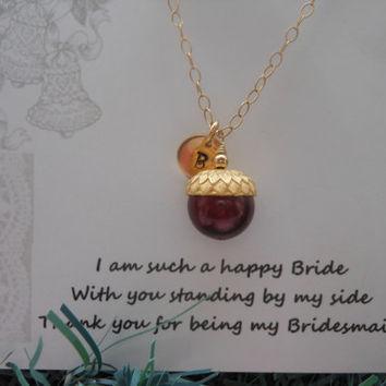 Bridesmaid Gift, Acorn Necklace, Set of FIVE Necklaces,Personalized Gift, Gifts for Bridesmaids, Fall Wedding, Gold Necklace, Bridal Jewelry