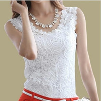 Plus Size XXXL 2014 Summer Women Lace Blouse Casual Blusas Femininas Vintage Sleeveless White Renda Crochet Shirts Top = 1946530436