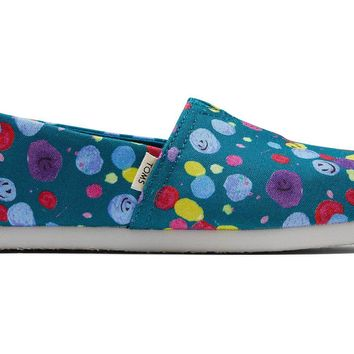 TOMS - Youth Classics Deep Lake Happy Dot Print Slip-Ons