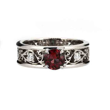 garnet filigree ring with diamonds, white gold engagement ring, wide filigree ring, red engagement, garnet solitaire, vintage style, unique