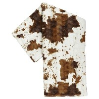 Fuzzy Faux Cowhide Throw