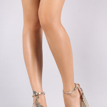 Qupid Patent Zigzag Chunky Clear Lucite Heel