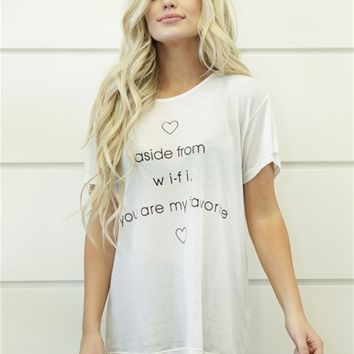 Wildfox Do U Have Wifi Machnester Tee in Alabaster
