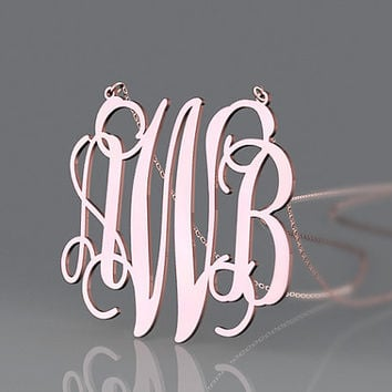 Monogram jewelry 1.25 inch rose gold plated necklace with 3 initial name monogram necklace