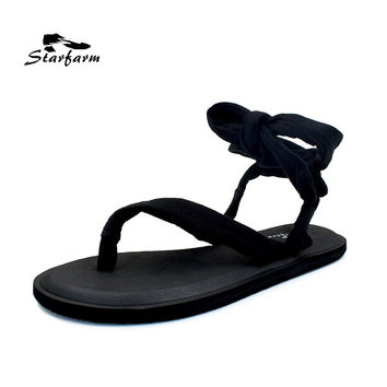 STARFARM Shoes Women Yoga Slinged Up Gladiator Sandal Sling Upper Black Gray Print Flower Woman Flat Sandals
