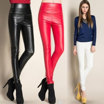 2016 Winter Ladies Fashion women's Sexy Skinny PU Leather pants Plus velvet  High Waist woman pencil pants candy colors