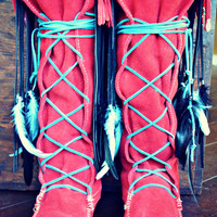QUIDEL Burning Torch /// Red Embellished Upcycled Fringe Boots  Size 10 /// Ready to Ship