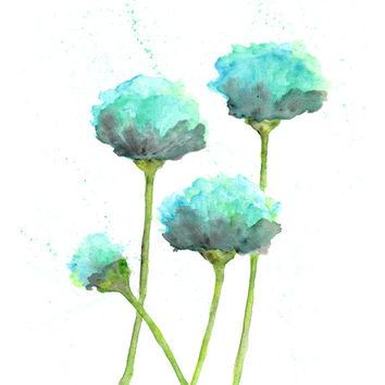 Flower art, flower print, mint green, watercolor flower painting, watercolor painting, poppy art, modern flowers, watercolor poppies, 5X7