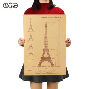 TIE LER Retro Kraft Paper Poster Hand Drawn Sketches Paris Tower Wall Stickers Bar Cafe Home Decorative Paintings  51.5X36 CM